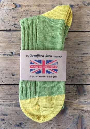 Green and Gold - Wool Socks - Hand or Silk Wash.